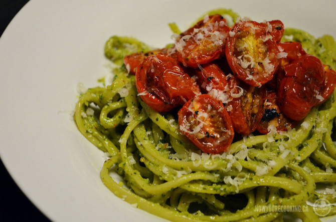 Now You're Cooking - Spicy Basil + Almond Pesto Pasta with Roasted Tomatoes
