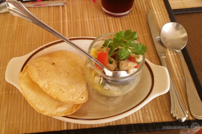 Tostadas and ceviche.